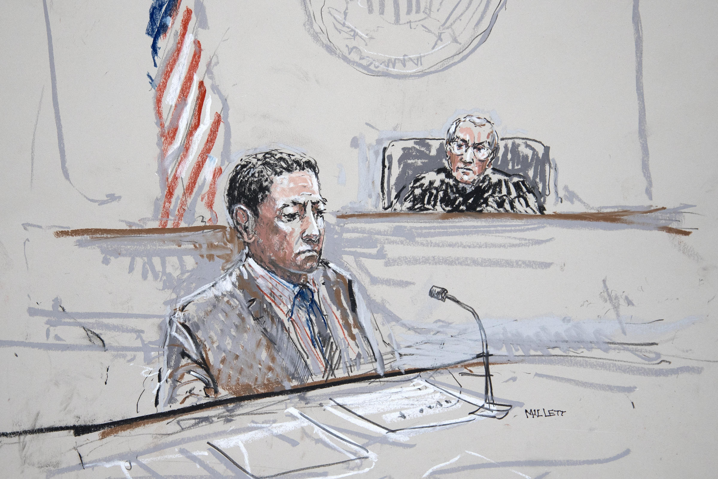 Raphael Sanchez is seen in U.S. District Court in Seattle in this artist's sketch