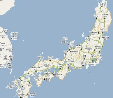 earthquake in japan map. Image courtesy of Google maps.