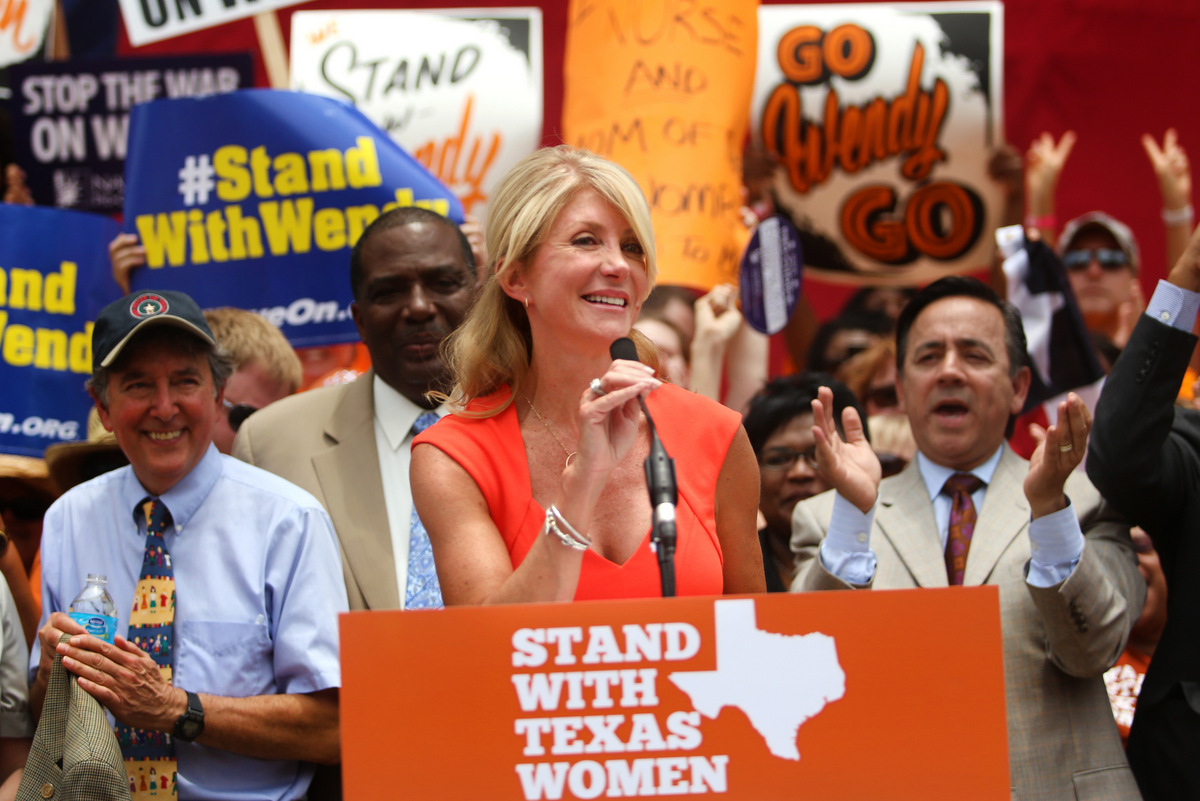 Davis at a rally following her most recent history-making filibuster.  KUT photo by Jorge Sanhueza-Lyon