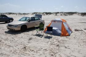 Camp site on beach in Corpus Christi
