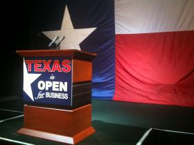 Empty Podium at Texas GOP HQ