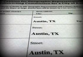 A detail of the petition Austinites for Geographic Representation circulated to put its 10-1 plan on the ballot.