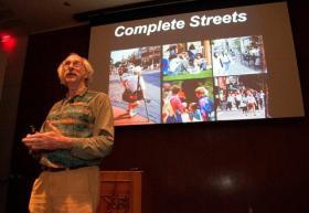 Dan Burden speaking in Austin earlier this week.