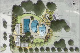 The projected plan for the new Bartholomew Pool includes shape structures, activity and lap pool.