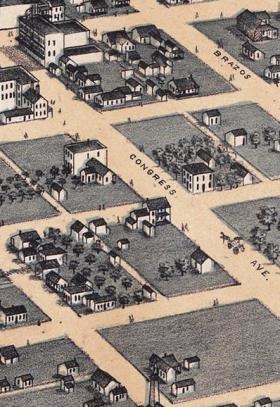 This details of  a map from 1873 demonstrates the grid layout of downtown Austin, including alleyways.