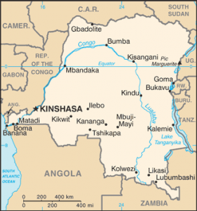 A map of Democratic Republic of Congo.