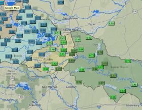 In the past six hours some areas in the Austin area have received nearly an inch of rain