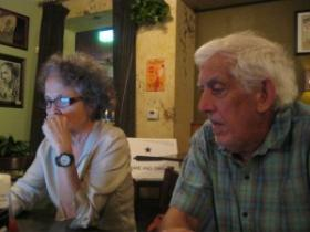 Linda Curtis of Independent Texans and Jerry Locke of the Texas Drought Project watch the election returns roll in Tuesday evening. Both groups opposed the measure.