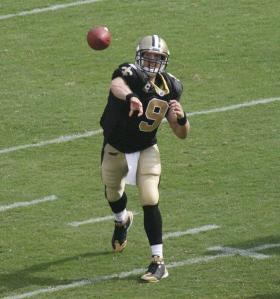 Drew Brees during a 2008 matchup of the Saints and Redskins.