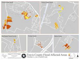 A map of structures with minor (orange) and major (red) damage from last year's Oct. floods.