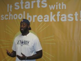 Dallas Cowboy George Selvie visited a Pflugerville elementary school Thursday to encourage students to eat a healthy breakfast.