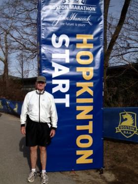 Michael Breen at the start of the Boston Marathon last year
