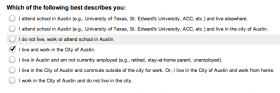 A screenshot from the City of Austin's housing choice survey.
