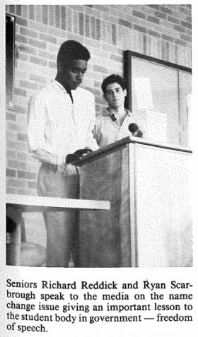 A photo of Reddick and Scarborough's impromptu press conference appeared in the Johnston High School yearbook.