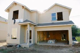 A home under construction in the Arbor Ridge development.