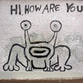 "Daniel Johnston's famous mural ""Jeremiah the Innocent"" by Guadalupe Street."