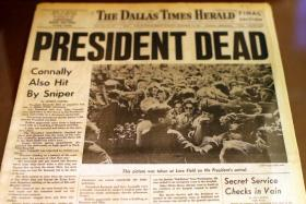 The front page of The Dallas Times Herald after President Kennedy's assassination, on display by the Texas State Archives and Library Commission.