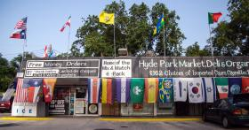 The Flag Store of Hyde Park flies its emblems year-round.