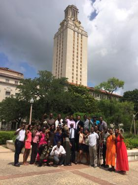 The group of 18 young Africans gather in front of the UT Tower.