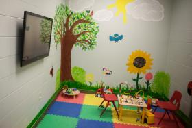 A play area for children inside the Karnes City immigrant facility.