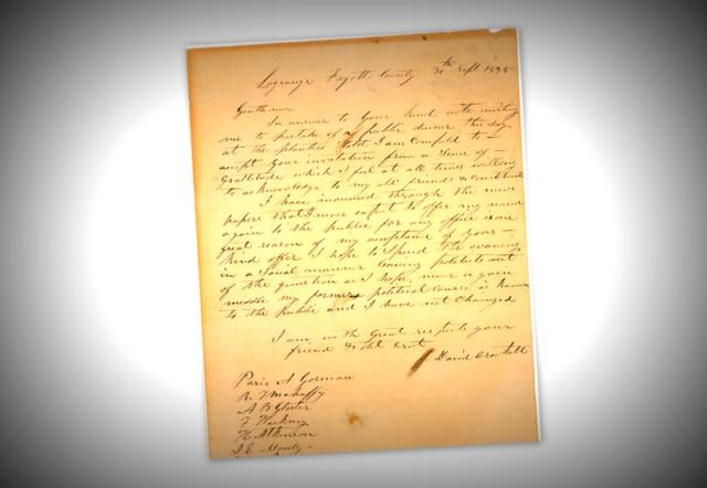 A letter from David Crockett, drafted some six months before his death at the Alamo, is for sale.
