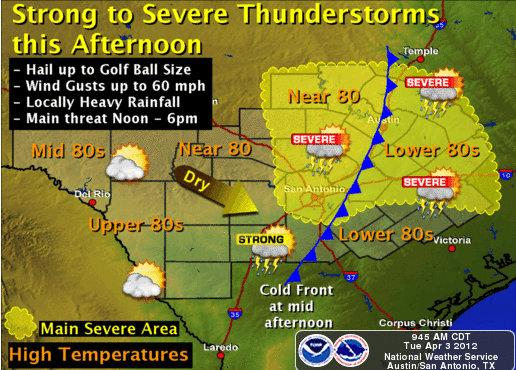The National Weather Service predicts the possibility of strong thunderstorms this afternoon.