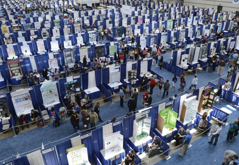 The floor of the Intel ISEF, held in Pittsburg.