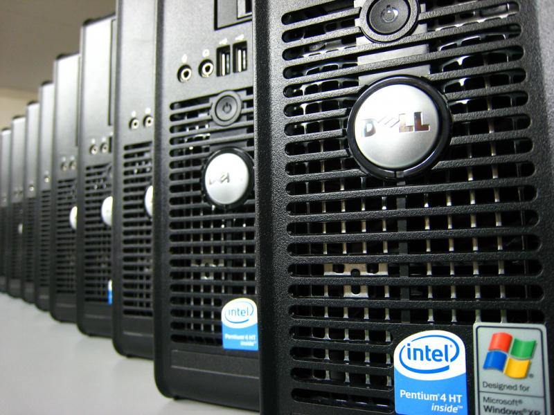 A row of Dell desktop computers