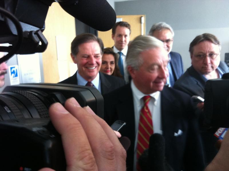 Former House majority leader Tom DeLay (left) and his lawyer Dick DeGuerin at the Travis County Criminal Justice Center on November 1, 2010.