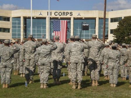 Soldiers at a memorial in 2009 following the November 5th mass shooting at Fort Hood.  Ceremonies will be held on post Friday to mark the one year anniversary of the shootings.