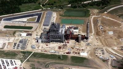 Aeriel of the construction of the Sandy Creek coal plant being built in Riesel, TX.