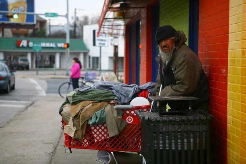 homeless man in austin