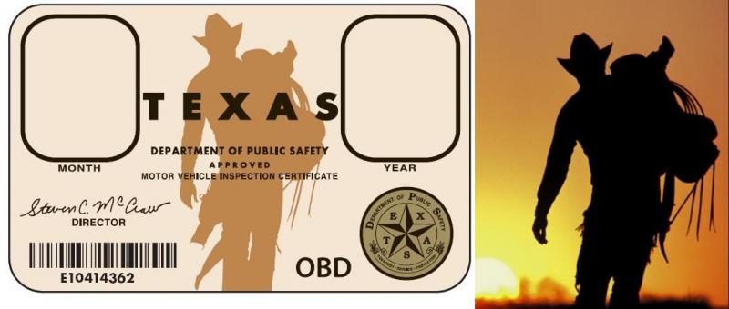 "Texas inspection sticker compared with David Langford photograph ""Day's End 2"""