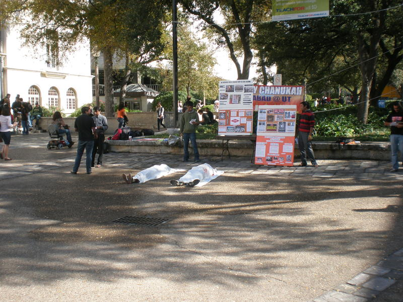 "UT Students at the ""die-in"" honoring the Bhopal tragedy."