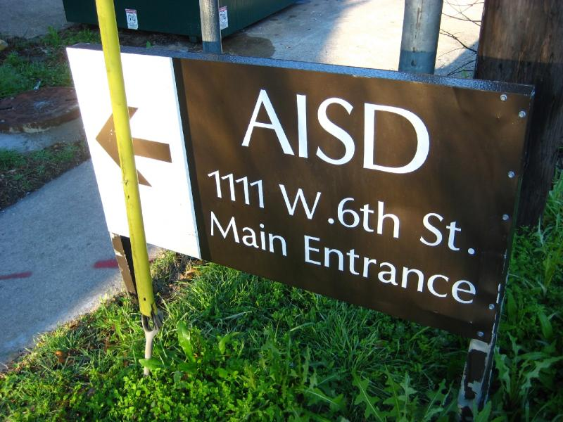 Sign at AISD headquarters