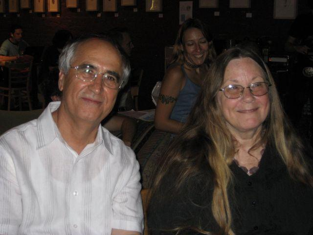 Austin poet and publisher Susan Bright with fellow poet Ali F. Bilir.