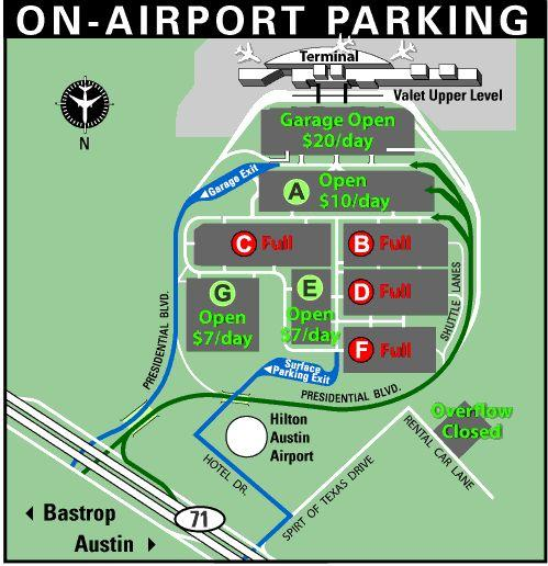 As of 12:30pm Wednesday, four economy parking lots at ABIA were already full
