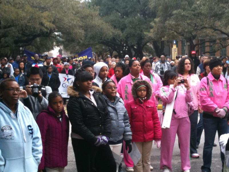 Crowds gather on the UT campus today to honor MLK, Jr.