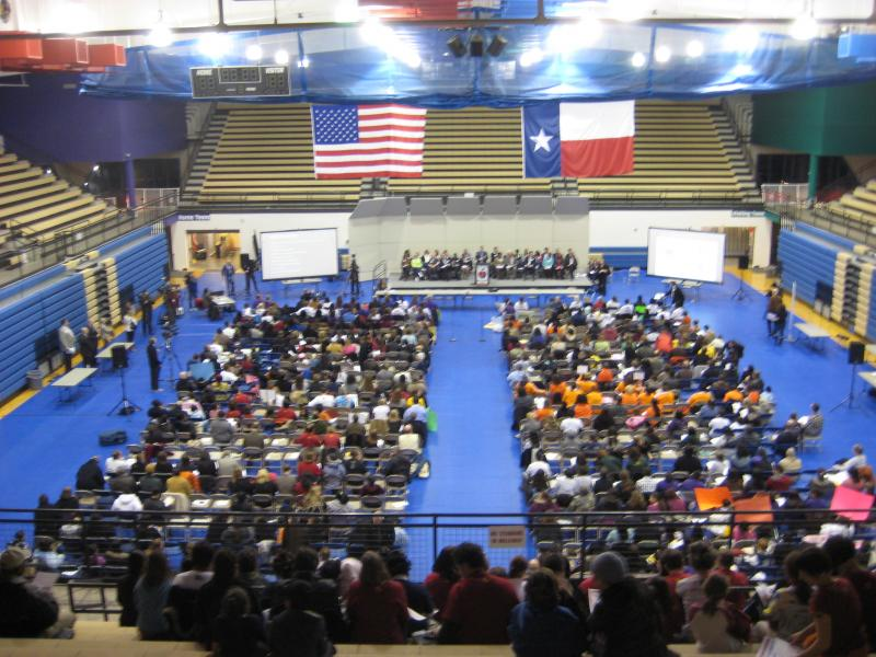 About 700 people attended a public meeting at the Delco Center last night to discuss school closure options that could be considered by AISD.