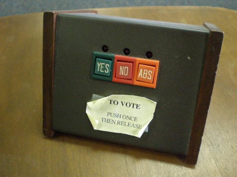A voting device used by members of the State Board of Education