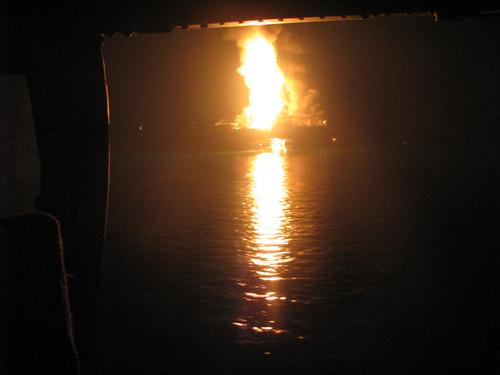 Fire from the Deepwater Horizon explosion, April 20, 2010 that led to the massive oil leak in the Gulf of Mexico
