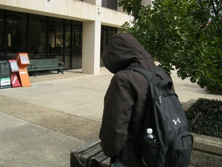 Folks on the UT campus are bundled up tight for today's cold weather.