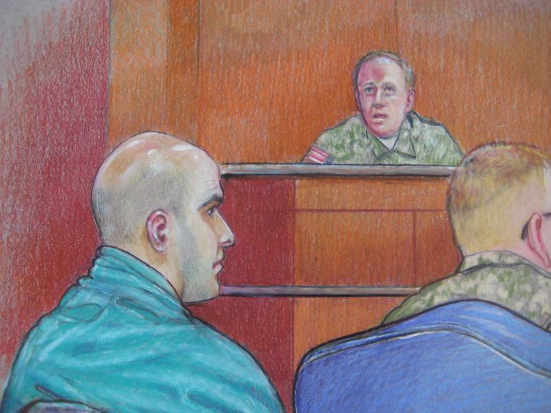 A courtroom sketch from one of Hasan's hearings