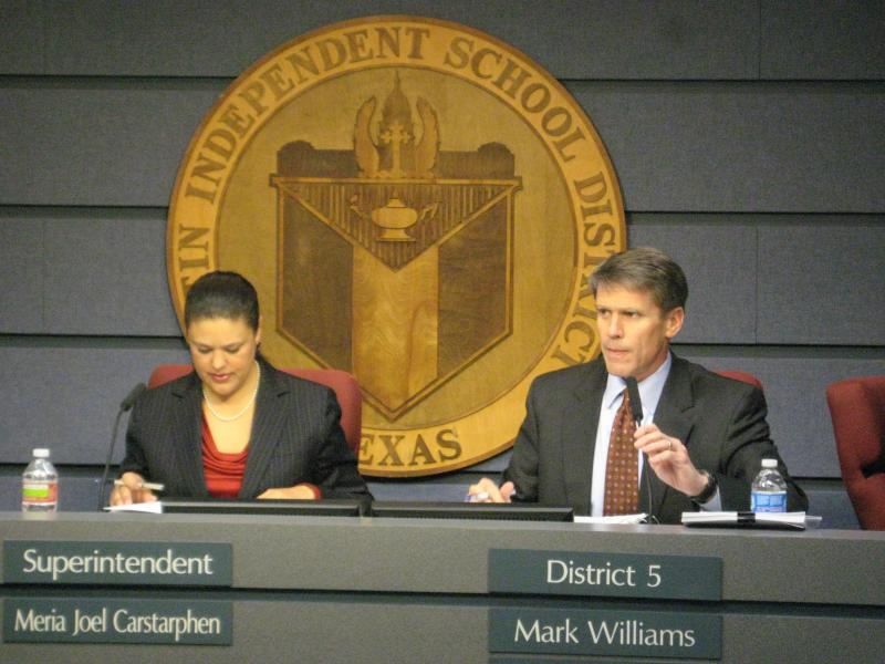 AISD Superintendent Meria Carstarphen and school board president Mark Williams during school board meeting Monday night.