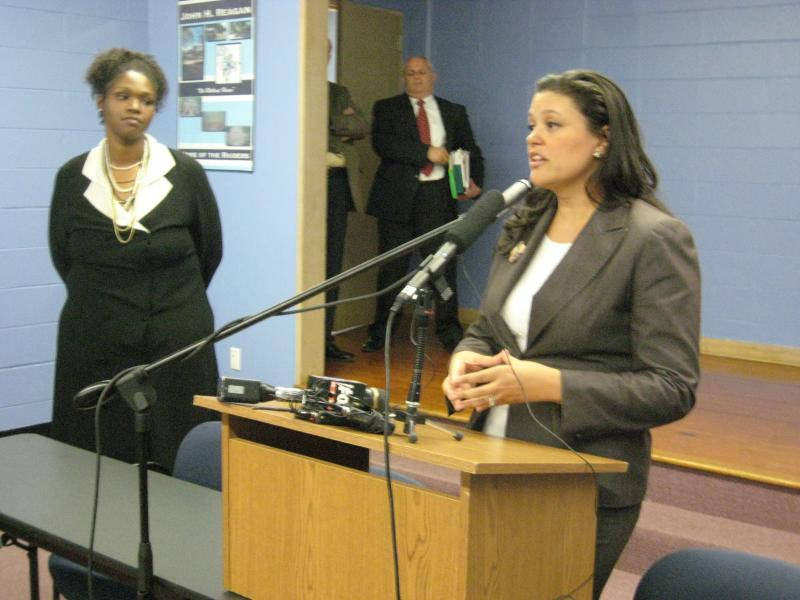 Austin ISD Superintendent Meria Carstarphen speaks to reporters with her CFO Nicole Conley-Abram in the background. The two will be answering questions about the budget tonight at Bowie High School.