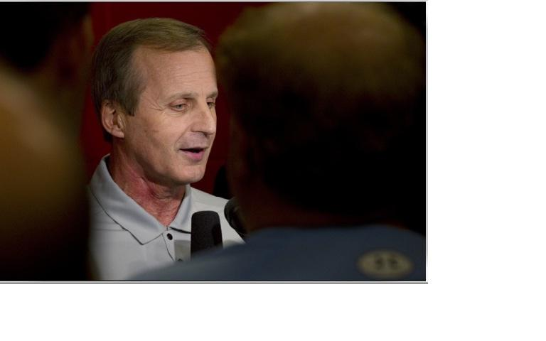 UT mens basketball coach Rick Barnes talks to reporters after Friday's UT win.  The Longhorns lost to Arizona, 70-69, Sunday in the NCAA championship tournament