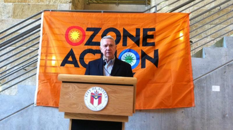 Austin Mayor Lee Leffignwell marked the start of Ozone Season with a press conference at City Hall.