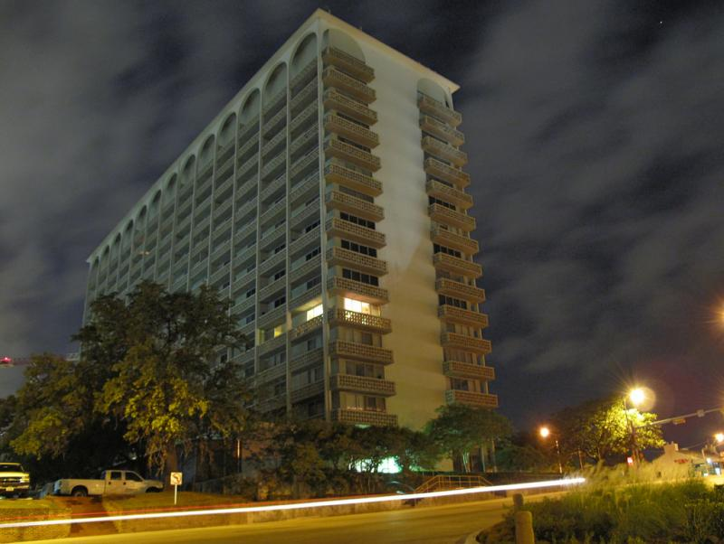 The Cambridge Towers, a high-rise apartment building on Lavaca St. An Encino, California based real estate analysis firm says apartment rents will rise 4 percent this year in Austin.