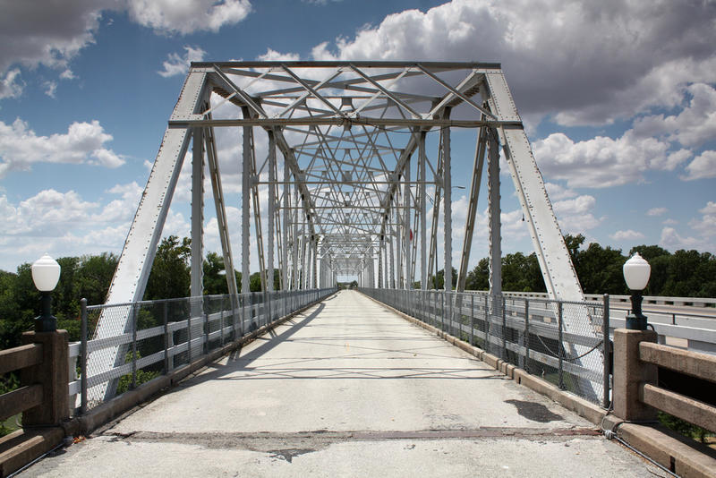 "The Colorado River Bridge in Bastrop. Parts of Bastrop County are in the US Drought Monitor's most intense drought classification of ""exceptional drought""."