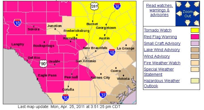 Tornado watch areas as of 4 pm are in yellow. Pink zones represent fire weather warnings.